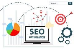 SEO Optimization flat vector illustration web analytics design. With technology computer Stock Photo