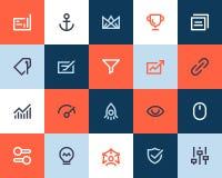 Seo and optimization icons. Flat style Stock Photo