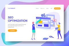 SEO OPTIMIZATION. Landing page template of SEO OPTIMIZATION Concept. Modern illustration flat design concept of web page design for website and mobile website vector illustration
