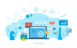 Seo optimization, market research, analysis, financial performance, achievement of objectives. Information technology, seo optimization, market research and Royalty Free Stock Images