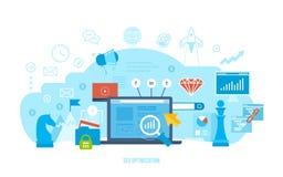 Seo optimization, marknadsforskning, analys, finansiell kapacitet, prestation av mål royaltyfri illustrationer