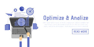 SEO optimization, programming process and web analytics elements in flat design.  Stock Images