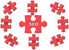 Seo optimization. Shape puzzles; puzzles red; web tools; optimization; web optimization; Puzzles red color on a white background; Web site optimization; Vector Royalty Free Stock Photo