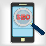 Seo optimization in smartphone Royalty Free Stock Photos