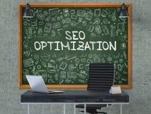 SEO Optimization sur le tableau dans le bureau illustration 3D Images libres de droits