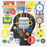 SEO optymalizacja, sieć rozwój i Obłoczny Oblicza technologii pojęcie na kierowniczym sylwetki tle, Zdjęcie Royalty Free