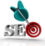 SEO - Ottimizzazione di Search Engine nell'obiettivo Immagine Stock Libera da Diritti