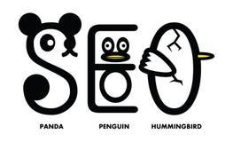 SEO Panda Penguin Hummingbird Update Lizenzfreie Stockfotografie