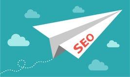 SEO Papierflugzeug auf blauem Hintergrund stock abbildung