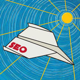 Seo papieru samolotu klamerki sztuka Obraz Royalty Free