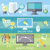 SEO, pay per click and graphic design Stock Image