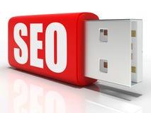 SEO Pen-Antrieb zeigt Suchmaschine Lizenzfreie Stockfotos