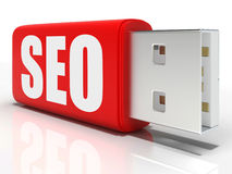 SEO Pen drive Shows Search Engine Royalty Free Stock Photos