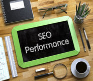 SEO Performance on Small Chalkboard. 3D. Stock Images