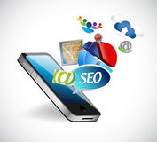 Seo phone media tools illustration design Stock Photos