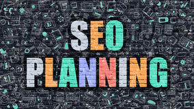 SEO Planning dans multicolore Conception de griffonnage Image stock