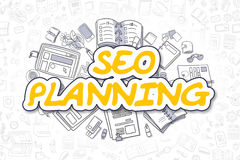 SEO Planning - jaune Word de bande dessinée Concept d'affaires Photographie stock