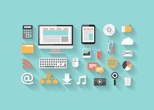 Seo plano, desarrollo, medios sociales e iconos del ordenador Fotos de archivo libres de regalías