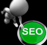 SEO Pressed Shows Internet Search Engine Optimisation Stock Images