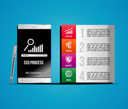 Seo process icons. Mobile seo template vector illustration