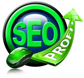 SEO profit green arrow. Written SEO and green arrow with the word profit and mouse Royalty Free Stock Photos
