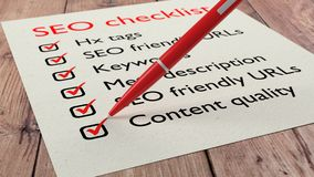 SEO quality checklist red pen and tick marks Royalty Free Stock Photography