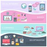 Seo, réseau social, commerce électronique, affaires plates Photographie stock
