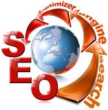 SEO red arrow - Search Engine Optimization Web. Illustration with globe, arrow and written SEO Royalty Free Stock Image