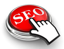 Seo red button and pointer hand Royalty Free Stock Photo
