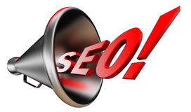 Seo red wonrd and bullhorn Stock Photography