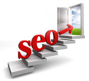 Seo red word and arrow on stair Stock Images