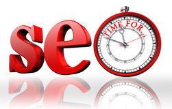 Seo red word and clock Stock Photography