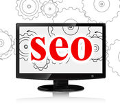 Seo red word and Computer monitor with cog wheels Stock Photo
