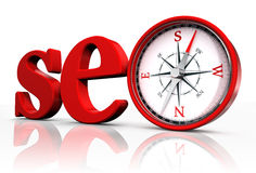 Seo red word and conceptual compass Stock Photo