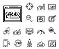 Seo - rengöringsduksymbolsuppsättning stock illustrationer
