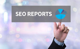 SEO REPORTS. Man pushing (touching) virtual web browser address bar or search bar on blurred abstract background Stock Image