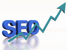 SEO rising popularity. Website search engine optimisation with graph going up indicating increase in ranking or website traffic Stock Photo