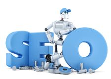 SEO Robot. Technology concept. . Clipping path Stock Photo