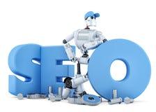 SEO Robot. Technology concept. . Clipping path Stock Photo