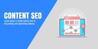 Seo satisfait - optimisation de contenu de Web, optimisation de moteur de recherche pour le marketing satisfait, concept de promo Photographie stock