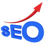 SEO search engine with arrow Royalty Free Stock Images