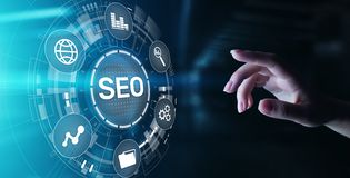 SEO - Search engine optimisation, Digital Internet marketing concept on virtual screen. stock illustration
