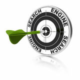 Seo search engine optimization. Search engine target and green dart over a white background Stock Image