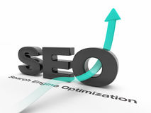 SEO - Search Engine Optimization. With an arrow pointing up Royalty Free Stock Photography