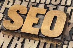 SEO - search engine optimization. SEO (search engine optimization) acronym - text in vintage letterpress wood type stock photography
