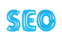 Seo, search engine optimization, blue color. Blue alphabet balloons, SEO, search engine optimization, blue number and letter balloon Stock Photos