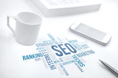 Seo, search engine optimization, business concept word cloud  Royalty Free Stock Photos