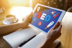SEO Search engine optimization. Business and digital marketing concept. stock photo