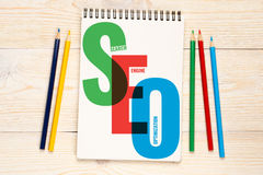 SEO, search engine optimization concept. SEO, search engine optimization with colorful pencils concept Stock Photography