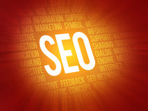 SEO Search Engine Optimization concept focused background Stock Image